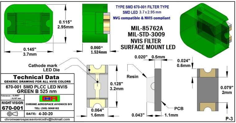 3 670-001 SMD-PLCC LED NVIS GREEN B  525nm   PCB 4-30-20.JPG