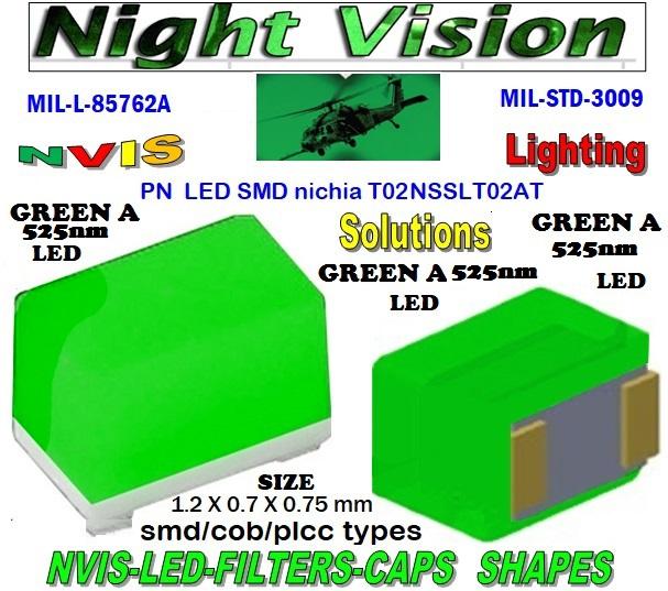 1-3  NICHIA NSSLT02AT  LED NVIS GREEN A 525 nm  FILTER CAP
