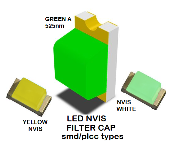 1206 SMD LED NVIS GREEN A 525 NM FILTER 1206 SMD LED NVIS GREEN A 525NM PCB  1206 SMD-PLCC LED NVIS GREEN A 525 NM FILTER 1206 SMD-PLCC LED NVIS GREEN A 525 NM PCB  NVIS GREEN A 525 nm SMD-PLCC LED FILTER CAP DATA SHEET SMD-PLCC LED NVIS GREEN A 525nm FILTER  CAP
