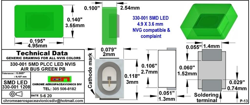 330-001 NVIS AIR BUS GREEN BP FILTER CAP       330-001 NVIS AIR BUS GREEN BP PCB   330-001 SMD-PLCC LED NVIS AIR BUS GREEN PB FILTER CAP       330-001 SMD-PLCC LED NVIS AIR BUS GREEN PB PCB