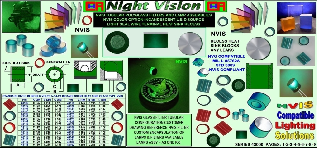 #3nvis-glass-ring-filters-assy-5v-14v-28v NVG/NVIS Glass Optical Filters for Incandescent Light Sources chrome aerospace avionics div NVIS glass filter material is designed specifically for incandescent lamps. Our standard and monolithic glass construction NVIS ring filters and NVIS flexible lead ring filter lamps (lamp/filter assemblies) offer reliable, rugged, and temperature resistant NVIS compliance in lighting applications where low wattage subminiature incandescent lamps are the preferred source of illumination. Our NVIS flexible lead ring filter lamps are constructed with aerospace-grade materials and best-in-class MIL-DTL-6363 military specification subminiature lamps. NVIS compatibility is typically achieved when the glass is molded with a wall thickness of 0.040 (1.0 mm). chrome aerospace NVIS glass filters and flexible lead ring filter lamps are supplied with polished surfaces inside and out for maximum light transmission..
