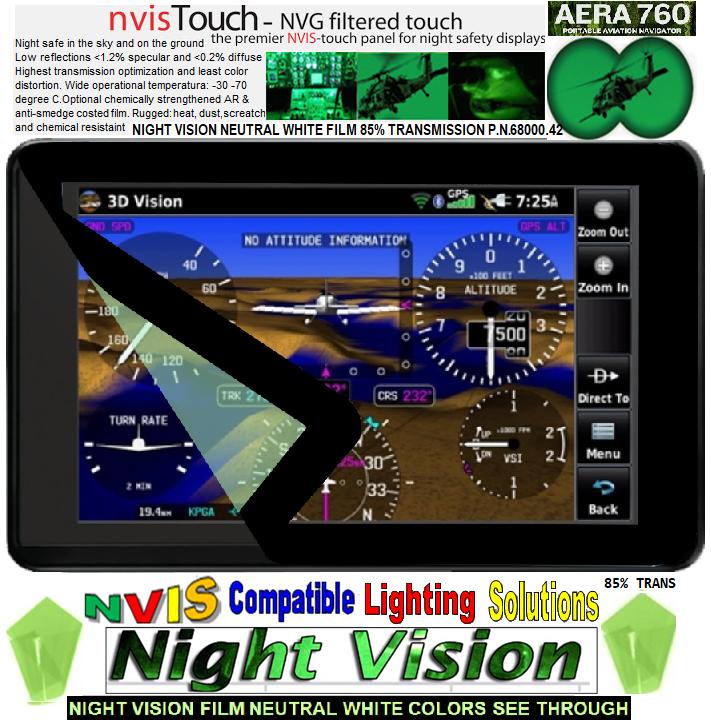 GARMIN GPS AERA 760 night vision nvis filter, garmin aera 760 Portable Aviation GPS 7-inch, garmin GPS AERA 760, garmin aera 760 portable aviation GPS, aera 760  display 7-inch diagonal touch screen GPS, aera 760  Touch screen Aviation GPS Portable